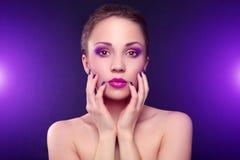 Fille avec le beau maquillage Photographie stock