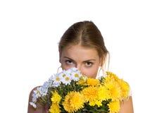 Fille avec le bouquet Photographie stock