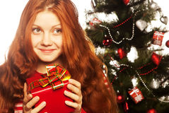 Fille avec le cadre de cadeau Photos libres de droits