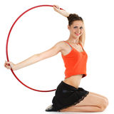 Fille avec le cercle de hula photographie stock