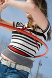 Fille avec le cercle de hula Photos libres de droits
