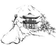 Fille avec le château Sakura Backround avec le bâtiment, les montagnes et les fleurs illustration libre de droits