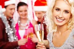 Fille avec le champagne Images stock