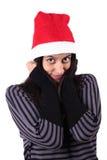 Fille avec le chapeau de Noël Images libres de droits