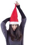 Fille avec le chapeau de Noël Photos libres de droits