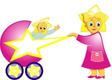 Fille avec le chariot avec l'étoile. illustration stock
