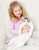 Fille avec le chat Photo libre de droits