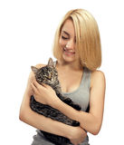 Fille avec le chat Images stock
