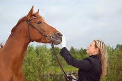 Fille avec le cheval. Photos stock