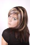 Fille avec le cheveu coloré Images stock