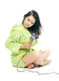 Fille avec le cheveu-dessiccateur photographie stock
