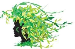 Fille avec le cheveu floral Image libre de droits