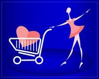 Fille avec le coeur dans le caddie Fond pour une carte d'invitation ou une félicitation Photos libres de droits