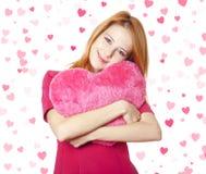 Fille avec le coeur de jouet Image libre de droits