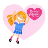 Fille avec le coeur, jour heureux du ` s de Valentine de salutations Illustration de style plat de vecteur de bande dessinée Photo stock