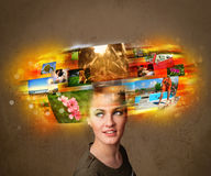 Fille avec le concept rougeoyant coloré de souvenirs de photo Image stock