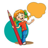 Fille avec le crayon rouge sur le blanc illustration stock