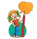 Fille avec le crayon rouge sur le blanc illustration libre de droits