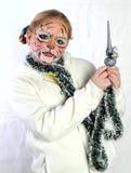 Fille avec le dessin par le tigre de masque Photos libres de droits
