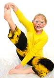 Fille avec le dessin par le tigre de masque Photo stock