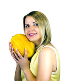 Fille avec le fruit Photographie stock