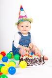 Fille avec le gâteau Images stock