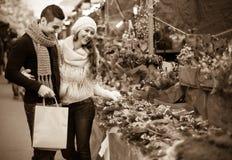 Fille avec le garçon choisissant la fleur de Noël Images stock