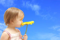 Fille avec le gerbera jaune Image libre de droits