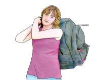 Fille avec le GRAND sac à dos Image stock