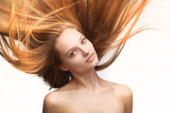 Fille avec le long cheveu Image libre de droits