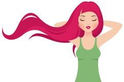 Fille avec le long cheveu rose Image libre de droits