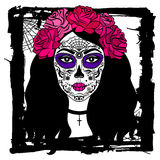 Fille avec le maquillage de crâne de sucre Jour mexicain des morts Image stock
