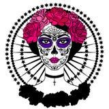 Fille avec le maquillage de crâne de sucre Jour mexicain des morts Photos stock