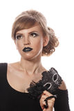 Fille avec le maquillage et le masque gothique de mascarade photographie stock