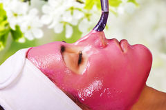 Fille avec le masque d'humidification de massage facial de fruit Photo stock