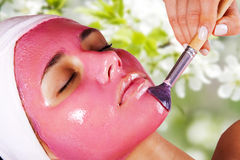 Fille avec le masque d'humidification de massage facial de fruit Images stock
