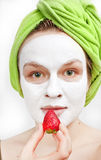 Fille avec le masque de fase Image libre de droits