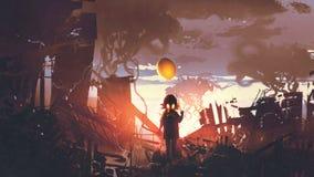 Fille avec le masque de gaz tenant le ballon se tenant dans l'apocalypse CIT Photo libre de droits