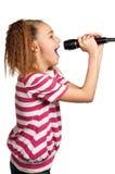 Fille avec le microphone images stock