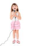 Fille avec le microphone photos libres de droits