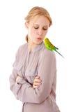 Fille avec le perroquet Images stock