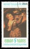 Fille avec le plateau de fruit par Titian Photos stock