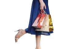 Fille avec le sac à provisions Photographie stock