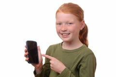 Fille avec le smartphone photo libre de droits