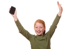 Fille avec le smartphone photos libres de droits
