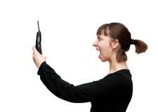 Fille avec le téléphone photographie stock libre de droits