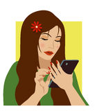 Fille avec le téléphone Photos libres de droits