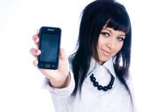 Fille avec le téléphone portable photo stock
