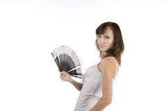 Fille avec le ventilateur Photographie stock