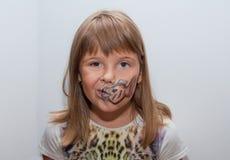 Fille avec le visage peint Images libres de droits
